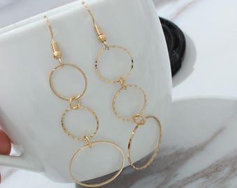Earrings Simple Gold / Silver / Long Section Tassel Pendant Circle Earrings Gifts