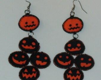 Halloween, Quilted 5 Pumpkin Earrings (HQ5PE03)