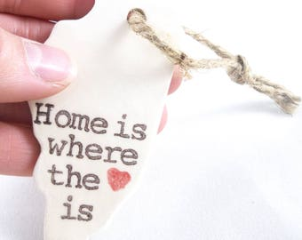 choose a city PERSONALIZED STATE ORNAMENTS home is where the heart is, custom text, valentine gift for couple long distance family members