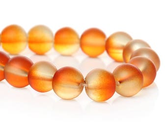 """40 Beads - 10mm Orange and Clear Frosted Rubberized Glass Round Beads - 15"""" strand - Approx 40 beads per strand - Hole Size: 1.7mm"""