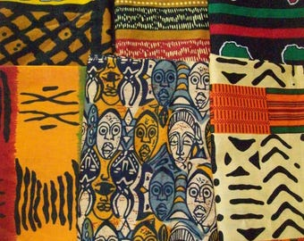 "African print fat quarter bundles 18""x22"" inches 6 pieces crafting/quilting/bangles, clutches/ African craft fabrics"