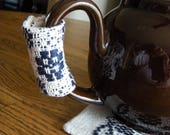 Teapot Handle Cover, Handwoven Teapot Handle Cozy and Trivet, Hot Pad For Tea Pot, Hand Woven Tea Pot Handle Cozy, Tea Pot Cozy and Trivet