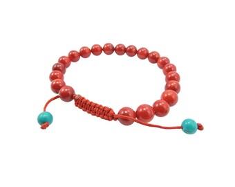 Tibetan Mala Red Coral Wrist Mala/ Bracelet for Meditation