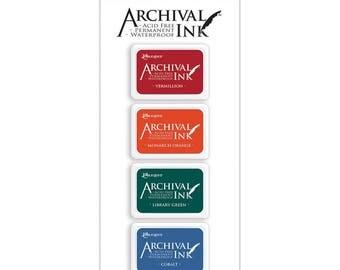 Archival Mini Ink Pads Set,  Kit 1 - Ranger Archival Vermillion Red, Monarch Orange, Library Green & Cobalt Blue Ink
