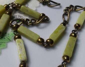 Rectangular  Vintage Lime Green Jade Bead Brass Chain. 13 x 3 x 4mm  Jade Bead Chain. Handmade Craft Supply.