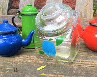 Barlett Collins Vintage Glass Tilt Canister Jar Blueberry Plum #1