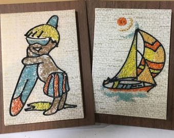 Mid-century Mod Surfer Sailboat Pebble Art Pair Vintage