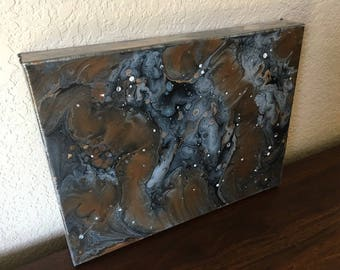 OOAK 9x12x2 Abstract Acrylic Pouring on Stretched Canvas
