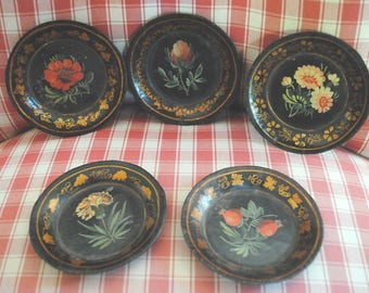 Antique Black TOLEWARE 5 COASTERS hand painted Flowers Napoleon III French