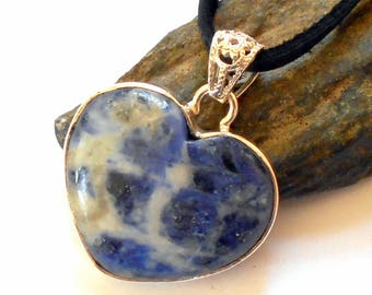 Blue Sodalite Heart Necklace Sterling Silver Leather earthegy #1408