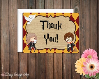 Thank You Cards - Harry Potter Gryffindor House Colors - Set of 10 with Envelopes