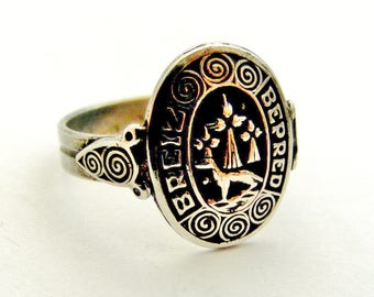 French celtic Breton 900 silver armorial heraldic signet ring