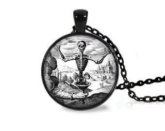 """25mm Antique Sitting Skeleton Cabochon Black 18"""" Necklace"""