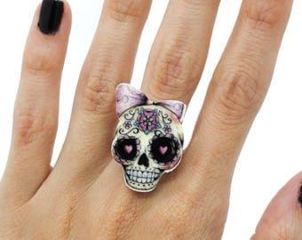 SALE Kawaii Skull Bow Adjustable Statement Ring