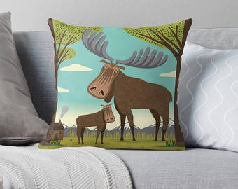 "The Magnificent Moose - Children's Cushion Cover / Throw Pillow Cover - Animal art - (16"" x 16"") by Oliver Lake - iOTA iLLUSTRATiON"