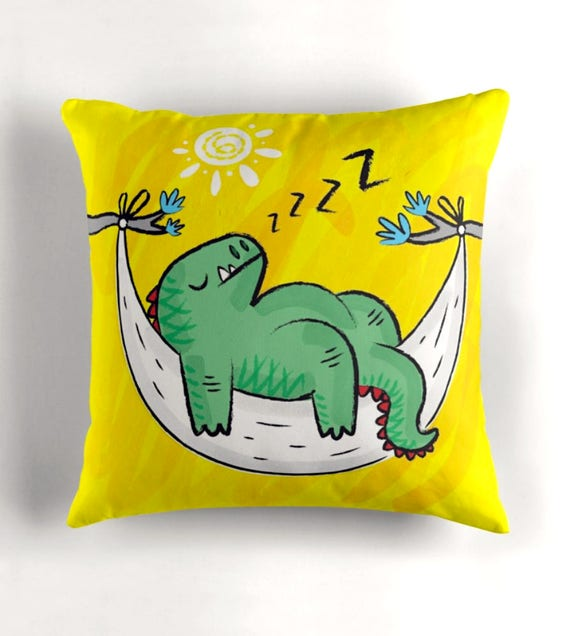 "Dinosnore - Childrens - Yellow Throw Pillow / Cushion Cover (16"" x 16"") by Oliver Lake / iOTA iLLUSTRATION"