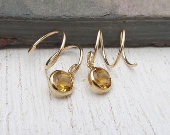 Gold Filled Double Piercing Earrings / Citrine Earrings / Two Piercing Earrings / Hoops for Double Pierced Lobes / Yellow Gold Hoops