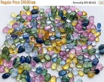 ON SALE 50% WHOLESALE 10 Cts, 20 Pcs Multi Sapphire Faceted Oval & Pear Stones, Loose Sapphire Cut Stone Cabochons, Sapphire Jewelry, 3x5mm