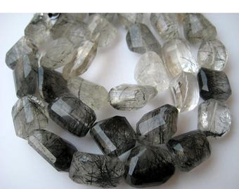 ON SALE 55% Black Rutile Quartz, Rutile Nugget Beads, Faceted Gemstone, 16x20mm Each Approx, 6 Pieces, 5 Inch Half Strand