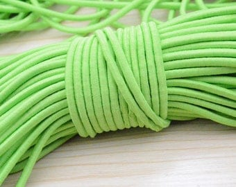 5 yds apple green elastic cord, 4mm Elastic wire, stretch thread, Round elastic rope, elastic string, stretch cord, stretchy string