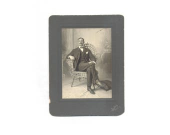 Large Cabinet Card Wonderful Detail Spiffy Man with Bow Tie Pocket Handkerchief Watch Fob and Elegant Dress Shoes in Fantastic Rattan Chair