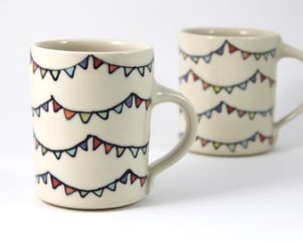 Bunting Coffee Mug handmade pottery coffee cup teacup cute ceramics illustrated pottery bunting party flags illustration bright colorful mug