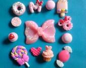 Kawaii pink bow and sweets cabochons decoden deco diy kit 353--USA seller