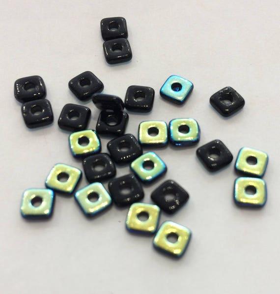 Czech Quad Beads Jet AB 5g (approx 110 beads)