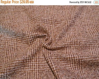 ON SALE Caramel Brown Prince of Wales Plaid Wool Blend Fabric--One Yard
