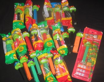 Vintage 1994 TMNT Teenage Mutant Ninja Turtles PEZ Lot 21 of Original 56 Happy Angry FUN Instant Starter Collection