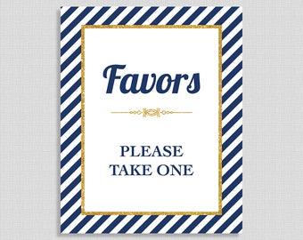 Favor Shower Table Sign, Navy & Gold Stripe Baby, Bridal Shower Favor Sign, 2 Sizes, DIY Printable, INSTANT DOWNLOAD