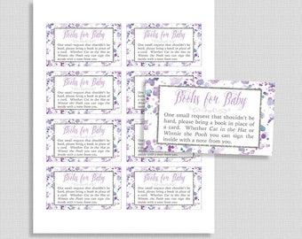 Lavender Baby Shower Book Request, Printable Lavender Splash Invite Insert, Neutral, Purple, Books for Baby, INSTANT DOWNLOAD