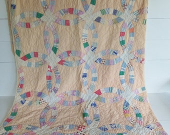 Vintage Quilt, Trip Around the World Pattern, Feed Sack Fabric