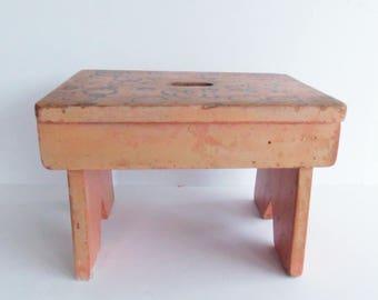 Vintage Wooden Bench Small Wood Stool Folk Art Bench & Wood small stool | Etsy islam-shia.org