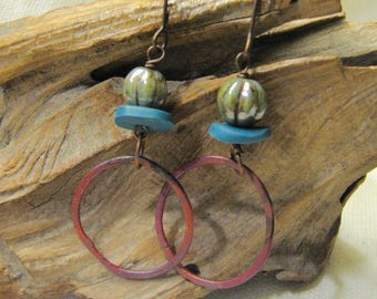 blue, green, and copper hoops