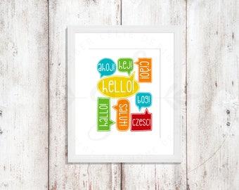 Ways to Say Hello! | Nursery Art | Wall Art | Subway Art | Nursery Decor | 5x7 | 8x10 | 11x14 (GL000033)