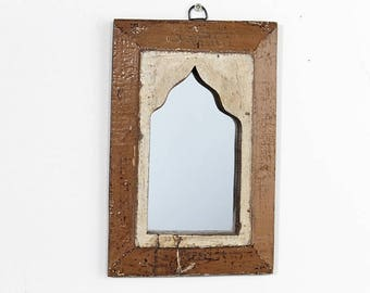 Moroccan Mirror Vintage Wood Framed Mirror Reclaimed Wood Wall Art Brown Gold Wall Mirror Moroccan Decor Turkish
