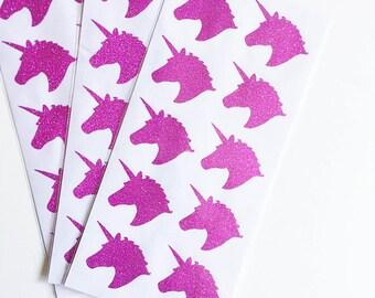 PRE-ORDER**EXCLUSIVE**Unicorn Pink Glitter Sticker (20 Stickers per pkg.)
