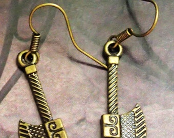 Elegant Antique Bronze Axe Earring
