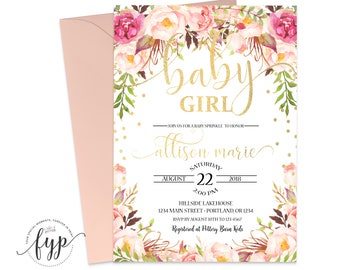 Boho Baby Sprinkle Invitation - Girl Baby Shower Invite - Baby Shower Invitation Girl - Baby Girl Invitation - Confetti Baby - Floral Baby