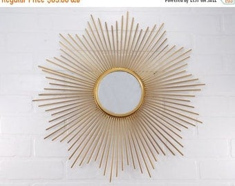 ON SALE Starburst Mirror / Retro / Atomic / Mid Century Modern Decor / Gold Mirror