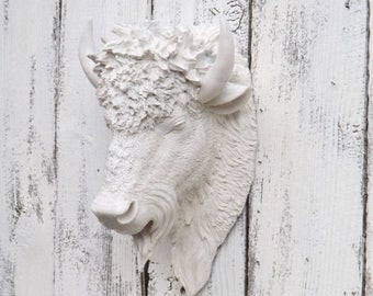 ON SALE The Great Bison // Cream Bison// Choice Color // Buffalo // Bison Wall Sculpture // Faux Animal Head // Faux Taxidermy