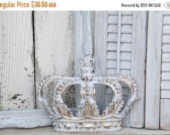 ON SALE White and Gold Crown~ Crown Wall Decor~Nursery Wall Decor~Princess Crown~Shabby Chic