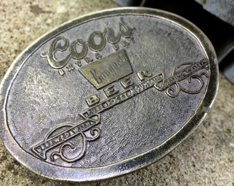 Vintage Coors Beer Extra Dry Belt Buckle 1970s