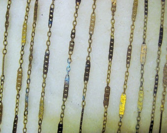 "Brass Figaro Chain, Mother & Son:  Finished Necklace Chain, Vintage 1970 Unused Old Stock, American Made, 6 Pieces, 14 1/2"" Lengths"