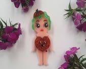 Miss Pumpkin Spice Kewpie Babe Wearble Art Brooch by Winnifreds Daughter