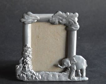 Vintage Seagull Pewter Frame for Nursery or Child's Room Little Elephant and Clouds 1993 Etain Zinn Design