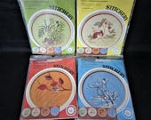 """Set of 4 Vintage Paragon Needlecraft Crewel Embroidery Kits """"A Mouse for all Seasons"""""""