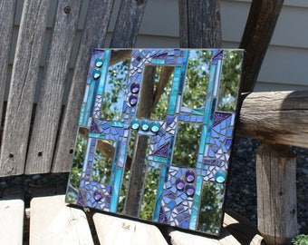 Mirror, mosaic mirror, stained glass mosaic mirror, art glass mosaic mirror, purple mosaic mirror, purple and turquoise glass mosaic mirror