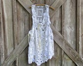vintage crochet lace tunic dress jumper one of a kind ready to ship